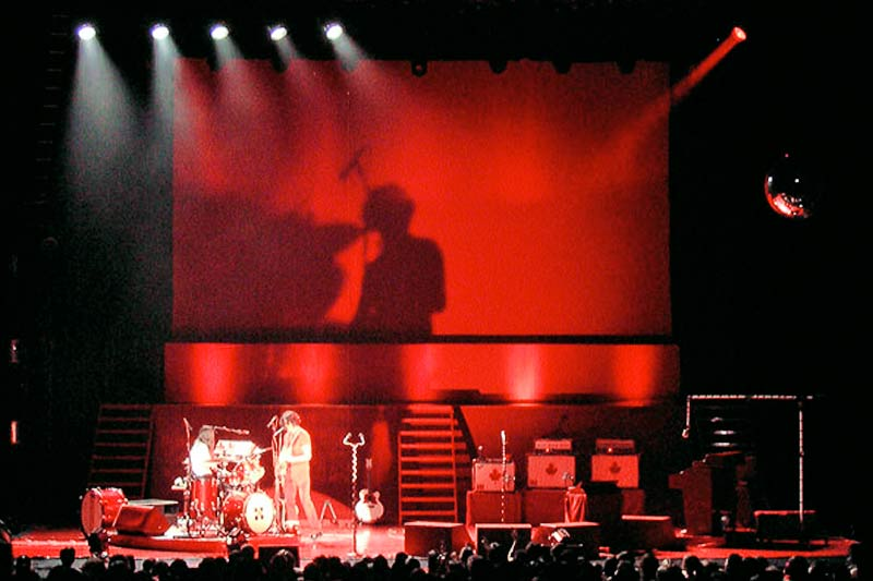 white stripes stage design